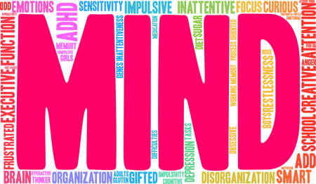 Mind ADHD word cloud on a white background. Illustration