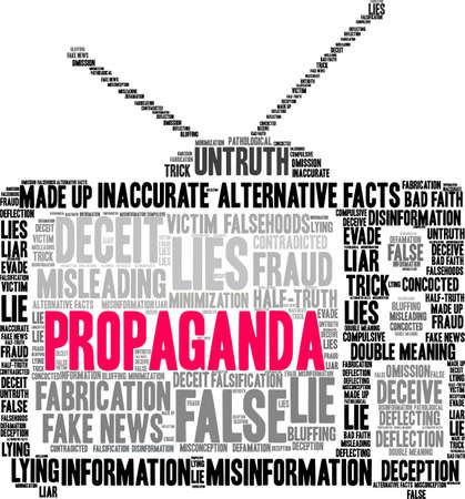 Propaganda word cloud on a white background.