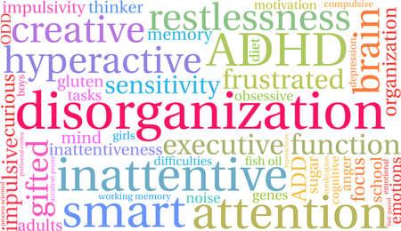 Desorganisatie ADHD-woordwolk op een witte achtergrond.