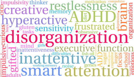 Disorganization ADHD word cloud on a white background. Vectores