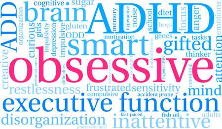 Obsessive ADHD word cloud on a white background. Çizim
