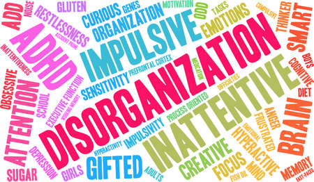 Disorganization ADHD word cloud on a white background. Banco de Imagens - 89317794