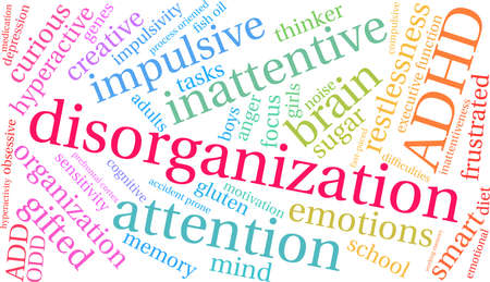 Disorganization ADHD word cloud on a white background. Иллюстрация