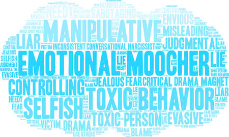 Emotional Moocher word cloud on a white background.