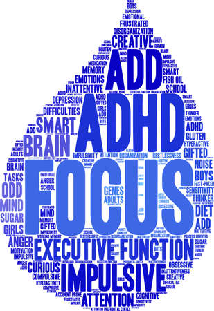 Focus ADHD word cloud on a white background. Banco de Imagens - 89043823