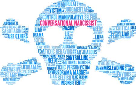 Nuage de mot narcissique conversationnel sur un fond blanc. Banque d'images - 89043831