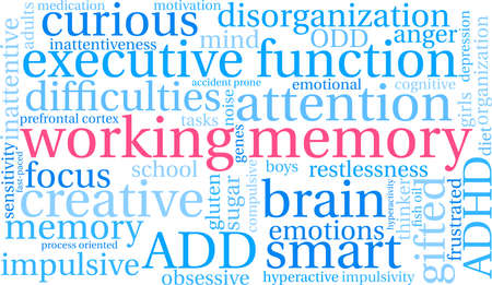 Working Memory ADHD word cloud on a white background. Banco de Imagens - 89043841