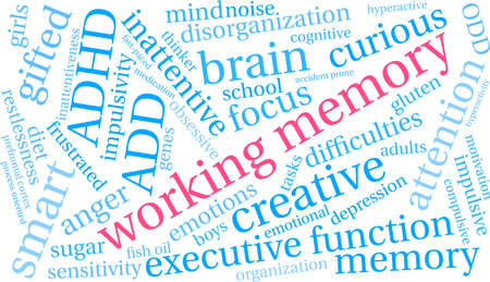 Working Memory ADHD word cloud on a white background. Stok Fotoğraf - 89043847