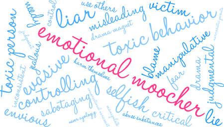 Nuage de mot émotionnel Moocher sur un fond blanc. Banque d'images - 89043882