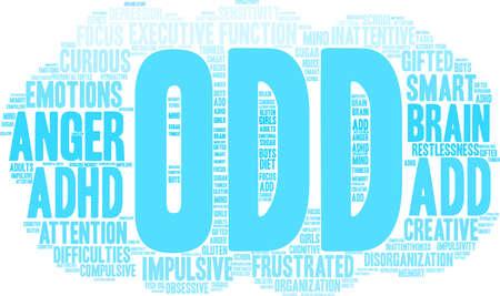 ONEVEN ADHD-woordwolk op een witte achtergrond.