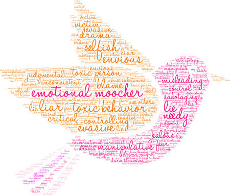 Emotional Moocher word cloud on a white background.  Çizim