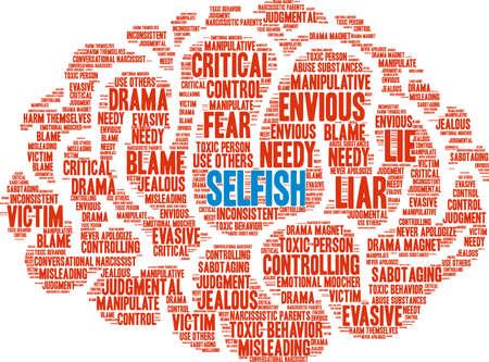 Nube de palabra egoísta sobre un fondo blanco. Foto de archivo - 90101829