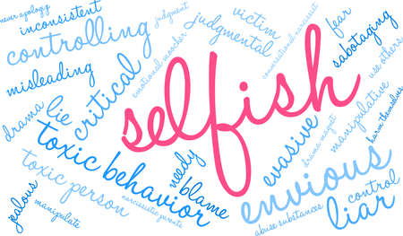 Selfish word cloud on a white background.