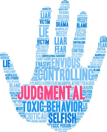Nuage de mot au jugement sur un fond blanc. Banque d'images - 90104292