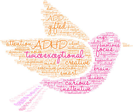 Twice Exceptional ADHD word cloud on a white background.