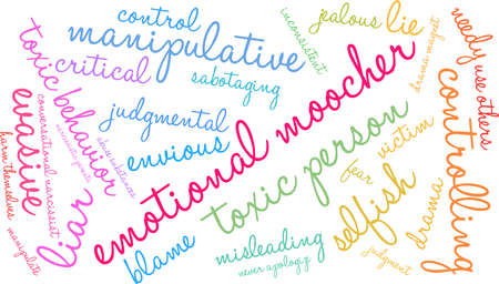 Emotional Moocher word cloud on a white background.  Illustration