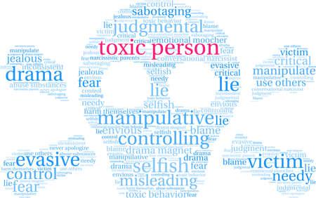 Nube de palabras de personas tóxicas sobre un fondo blanco. Ilustración de vector