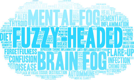 Fuzzy-Headed word cloud on a white background. Stock Vector - 89963995
