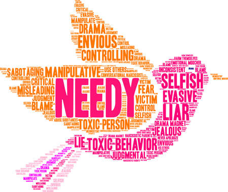 Needy word cloud on a white background.