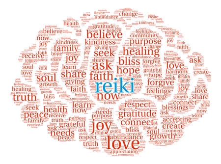 Reiki word cloud on a white background. Vector Illustration