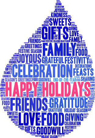 goodness: Happy Holidays word cloud on a white background.