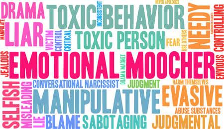 Nube emocional de la palabra de Moocher en un fondo blanco. Foto de archivo - 90105400