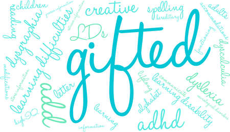 Gifted word cloud on a white background.