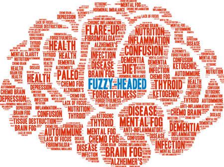 Fuzzy-headed woordwolk op een witte achtergrond.