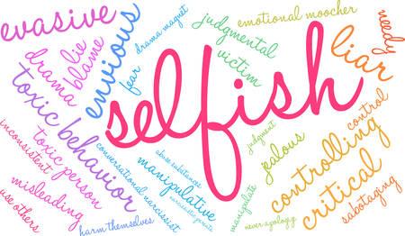 Nuage de mot égoïste sur un fond blanc. Banque d'images - 90105612