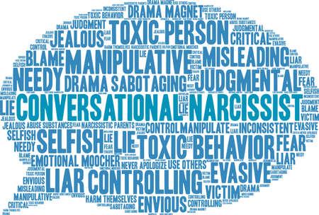 Nuage de mot narcissique conversationnel sur fond blanc. Banque d'images - 89947715