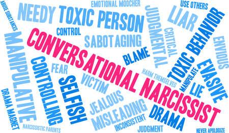 Nuage de mot narcissique conversationnel sur un fond blanc. Banque d'images - 90105622