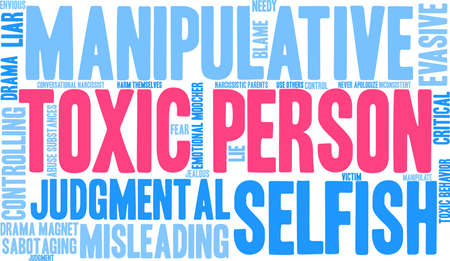 Toxic Person word cloud on a white background.