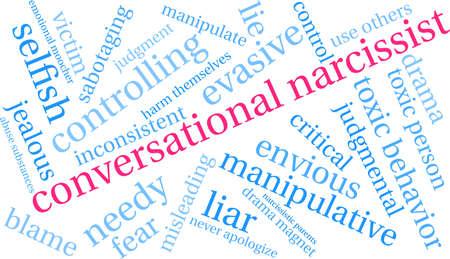 Nuage de mot narcissique conversationnel sur un fond blanc. Banque d'images - 89964078