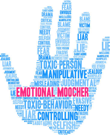 Emotional Moocher word cloud on a white background.  向量圖像