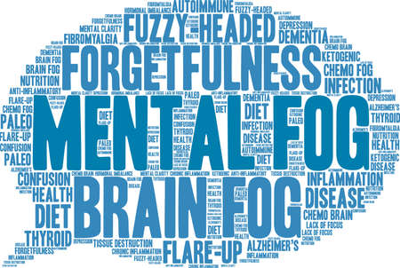 Mental Fog word cloud on a white background.  Vettoriali