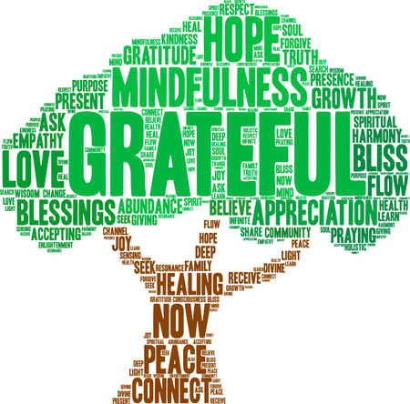 Grateful word cloud on a white background.  Illustration