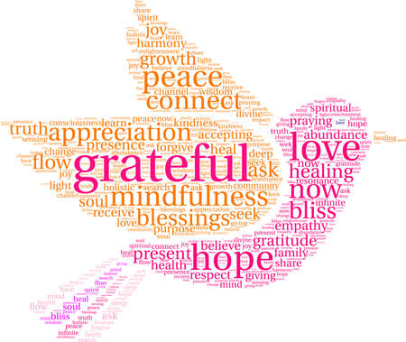 Grateful word cloud on a white background.  Иллюстрация