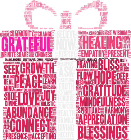 Grateful word cloud on a white background.  Ilustração