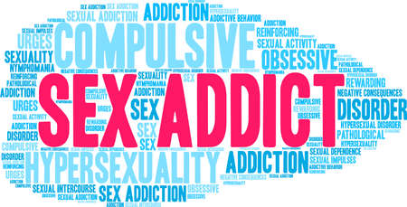Addict word cloud illustration.