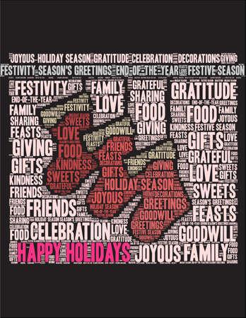 Happy Holidays word cloud on a black illustration. Illusztráció