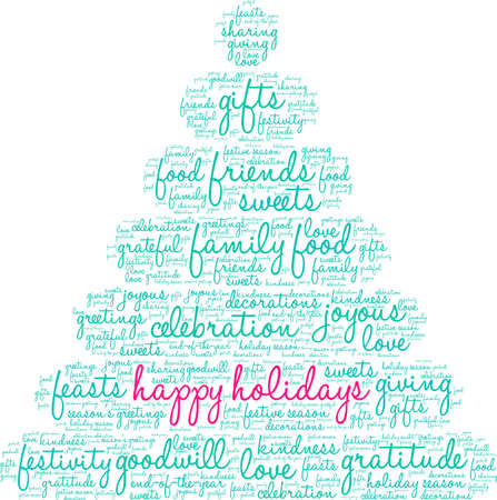 Happy Holidays word cloud illustration.