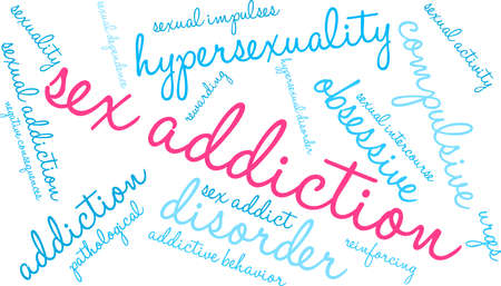 Addiction word cloud on a white illustration.