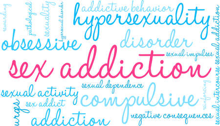 Het woordwolk van de verslaving op een witte illustratie.