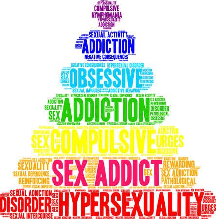 Addict word cloud on a white illustration. Ilustração