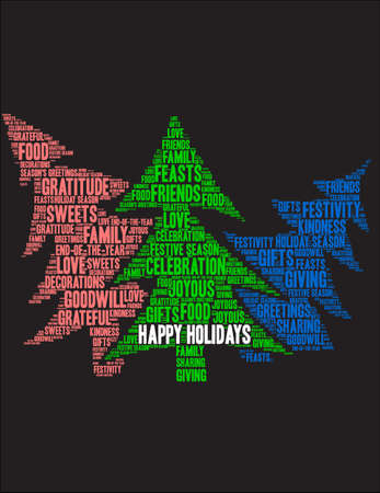Happy Holidays word cloud on a black background.