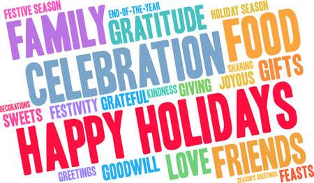 Happy Holidays word cloud illustration.