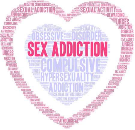 A Sex Addiction word cloud on a white background.