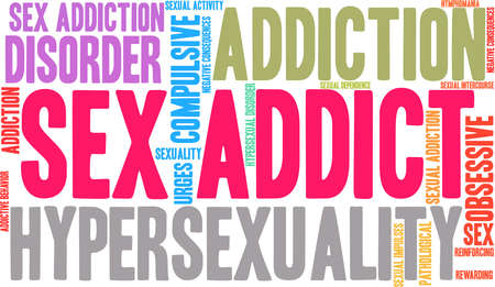 Sex Addict word cloud on a white background. Ilustração