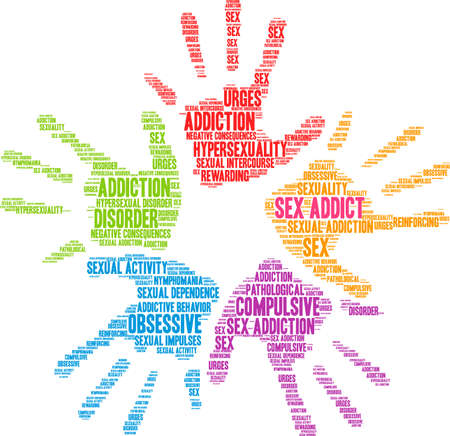 A Sex Addict word cloud on a white background.
