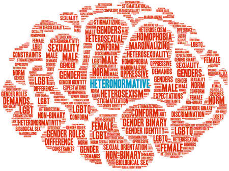 Heteronormative word cloud on a white background. Banco de Imagens - 90956490